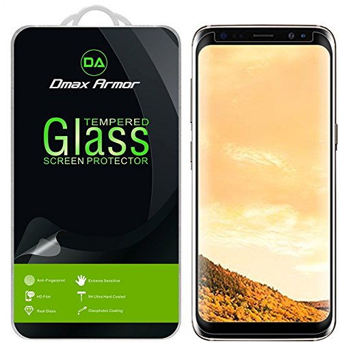 Samsung Galaxy S8+ / S8 Plus Screen Protector, [Case Friendly] Dmax Armor Tempered Glass Anti-Scratch, Anti-Fingerprint, Bubble Free, (Black)