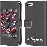 Offizielle The Rolling Stones Voodoo Lounge Kunst Brieftasche Handyhülle aus Leder für Apple iPhone 5 / 5s / SE
