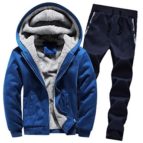 Amphia - Herren Winter Solid Color Plus Samt gepolsterte Hose Set - Herren Hoodie Winter Warm Fleece...