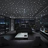 HLHN Creative 407PCS Glow In The Dark Star ound Dot Luminous Wallpaper Household Home Wall Sticker Poster Mural Decoration for Bedroom Livingroom Bathroom Kitchen Window Glass