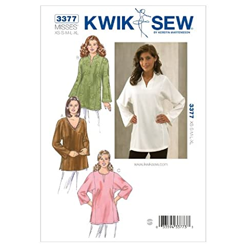 KWIK - SEW PATTERNS K3377 Size Extra-Small - Small - Medium - Large - Extra-Large Tunics, Pack of 1,