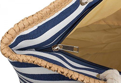 styleBREAKER Strandtasche mit maritimen Streifen Muster, Stern Print und Reißverschluss, Schultertasche, Shopper, Damen 02012169, Farbe:Marine-Weiß / Silber Marine-Weiß / Silber