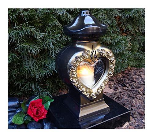 ♥ GRABLAMPE Herz incl. LED-Grablicht 28,0cm GRABSCHMUCK GRABLATERNE GRABLEUCHTE Laterne Kerze LICHT Friedhof Garten TROSTHERZ