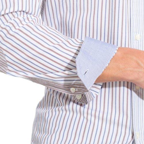 Springfield - Chemise Rosshengal à manches longues à rayures diverses et col à boutons - Homme Marron