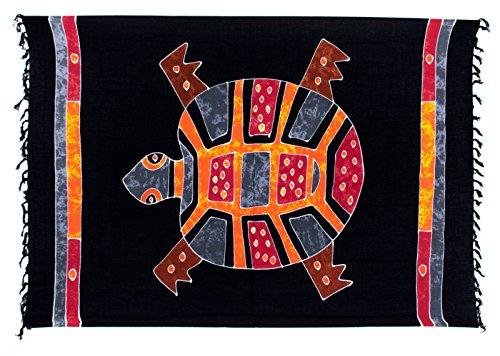 Sarong ca. 170cm x 110cm Handbemalt inkl. Sarongschnalle im Herz Design - Viele exotische Farben und Muster zur Auswahl - Pareo Dhoti Lunghi Schildkröte Schwarz Bunt Batik