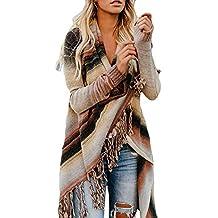 473965b5916d3d TUDUZ Damen Poncho Cape mit Rollkragen Gestrickten Pullover Sweater  unregelmäßige Quaste Cardigan Strickwaren Mantel