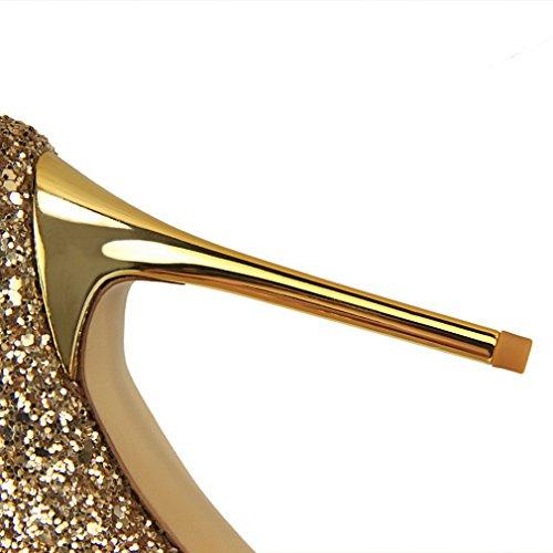 Eozy Damen Glitzer Stilettos Abendschuhe High Heels Spitze Pumps für Party Hochzeit Gold
