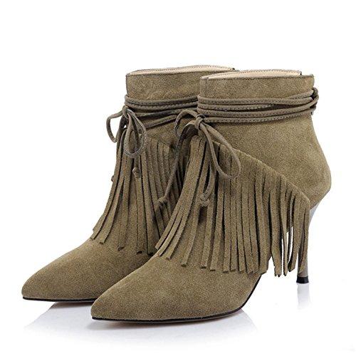 WSS chaussures à talon haut Flux sukau tête fine Europe vent fashion avec des bottes de cuir pointu fermeture à glissière Khaki