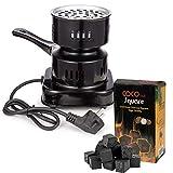 DXP Elektrischer Kohleanzünder Herdplatte 600 W für Shisha Kohle und Kokoskohle Naturkohle Schwarz