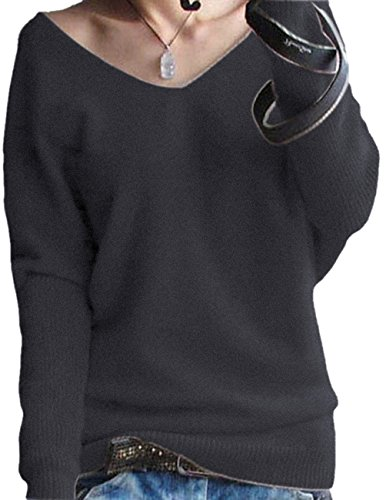 Schwarz Lange Ärmel Pullover Pullover (LongMing Damen Herbst und Winter Amicor arbeiten lose mit langen Ärmeln V-Ausschnitt-PulloverSexy Pullover mit V-Ausschnitt Pulli tollen Farben, Schwarz, Gr. XXXL / EU Size 58)