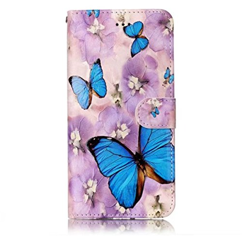 iPhone 6S Plus Hülle, iPhone 6 Plus Hülle, Gift_Source [ Panda ] Magnetisch Dünn Leder Folio Flip Klapphülle Etui Schutzhülle Tasche Case mit Magnetverschluss und Kartenfächer Handy Tasche Hülle Cover E1-Blumen Schmetterling