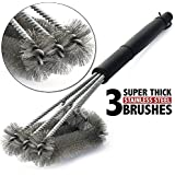 Welltop BBQ Barbecue Grill Brush 18 inches Stainless Steel 3 Brushes in 1 BBQ Brush Barbecue Cleaner Tools - Bristle Brush
