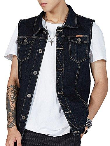 Kedera Herren Denim-Weste Plus Size Button Down Jeans Weste Jacke 3XL - Schwarz - XXX-Large