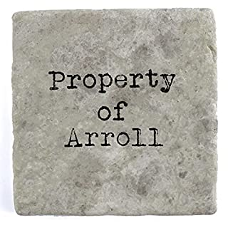 Property of Arroll - Set of Four Marble Tile Drink Coasters