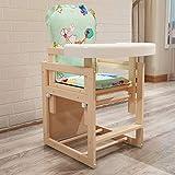 ZLMI Kinder-Speise Stuhl Multi-Funktion Portable Massivholz Baby-Lernstuhl (Kann Kombiniert Werden, Kann Getrennt Werden) 0-4 Jahre Alt (Grüner Mond)