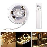LED Streifen mit Bewegungsmelder Batteriebetrieben 1m LED Band für Kinderbet,Schrank, Schublade, Treppe (Warmweiß, 1M)