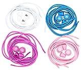 flowign schleifenlose Schnürsenkel 120cm Schuhbänder Set Weiß/Hellblau/Violett/Rosa mit Schnellschnürsystem und Schnellverschluss ohne binden
