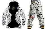 South Play Mens Wasserdichte weiße Camo Military Design Ski-Snowboard-Jacke Schwarze Hosen Set (X-Large)