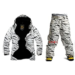 South Play Mens Wasserdichte weiße Camo Military Design Ski-Snowboard-Jacke Hosen Set