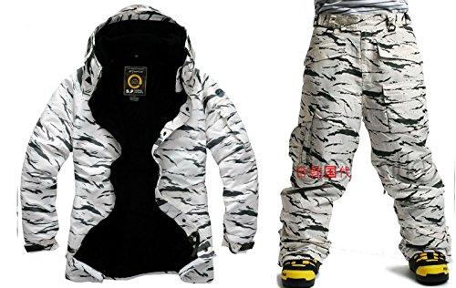 South play Mens wasserdichte weiße Camo Military Design Ski-Snowboard-Jacke Schwarze Hosen SET (X-Large)