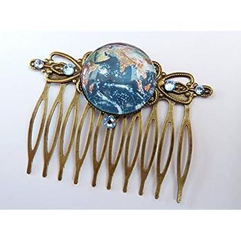 Haarkamm in bronze mit Erde Motiv, Welt Haarkamm