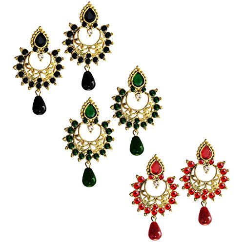 Beingwomen Exclusive Diwali Special Collection Multicolor Traditional Wedding Bridal Chanbali Kundan Combo Earrings
