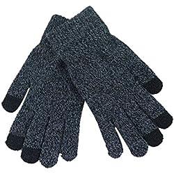 Femme Gants Multifonction Gloves Touch Screen Gants Sport à éCran Tactile, Mitaine Laine Chuad Hiver Pas Cher (Gris foncé)