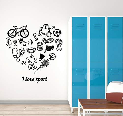 myrockshirt Wandtattoo Aufkleber Schreiben I Love Sport Bowling Tennis Fahrrad für alle glatten Flächen UV&Waschanlagenfest Autoaufk
