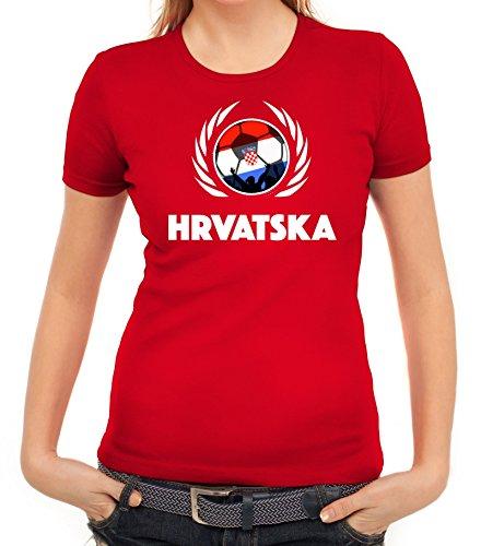 ShirtStreet Hrvatska Croatia Soccer Fussball WM Fanfest Gruppen Fan Wappen Damen T-Shirt Fußball Kroatien Rot