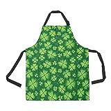 InterestPrint dunkelgrüne Kleeblatt Schürze für Damen Herren Mädchen Koch mit Taschen, St. Patrick's Day Unisex Verstellbare Latzschürze Küche zum Kochen Backen Malerei