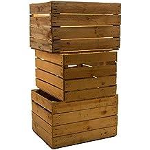 3 Piezas sólido Cajas de fruta Cajas de vino Cajas de manzana Caja madera Shabby Vintage Medidas aprox. 49 x 42 x 31cmxxxusadoxxx