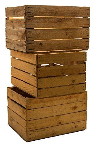 Set of 3 Vintage madera - Las fruta de - Caja para vino - color desgastado