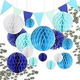 17x Wabenbälle Honeycomb Balls Pompoms Papier Fächer Girlande Konfetti Sternen Tiefblau Blau Weiß Dekoration Partydekoration für Hochzeit Baby Shower Geburtstag