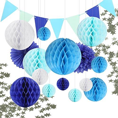 ycomb Balls Pompoms Papier Fächer Girlande Konfetti Sternen Tiefblau Blau Weiß Dekoration Partydekoration für Hochzeit Baby Shower Geburtstag (Blau Party Dekorationen)