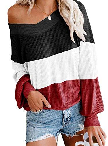 ZIYYOOHY Damen Pullover Sweatshirts V Ausschnitt Schulterfrei Bluse Oberteile Oversized Top (M, Streifen-Schwarz)
