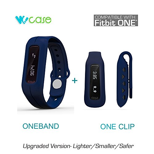 WoCase Pack of Two ( OneBand + One Clip ) Fitbit One Accessory Wristband Bracelet Collection ( Twin Marineblau ,One size, fits most wrist,2016 Lastest Version, Secured, Lost Proof) for Fitbit One Activity and Sleep Tracker