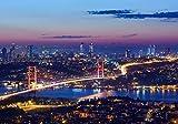 Fototapete Istanbul bei Nacht 400cm Breit x 280cm Hoch Vlies Tapete Wandtapete Vliestapete Effekt Stoß auf Stoß - Modern Wanddeko, Wandbild, Fotogeschenke, Wand, Wandtapete, Dekoration, Wohnung