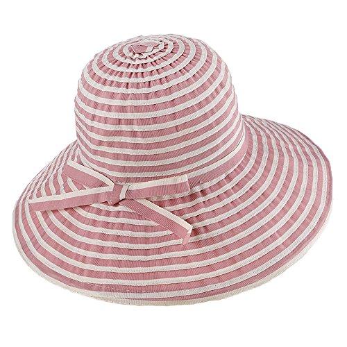 Sombreros de Panamá Pamelas Mujeres Niñas Bowknot Raya Al Aire Libre Playa Primavera Verano Sombrero de Sol Rosa