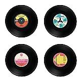 Glas Untersetzer Records Retro Style 4er Set farblich sortiert rund Ø 10,4 cm Vinyl Schallplatte PVC Kunststoff