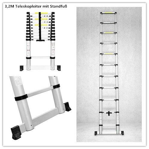 FEMOR 3.2M Alu Teleskopleiter Anlegeleiter mit erweiterter Grundlage Aluleiter Sprossenleiter Schiebeleiter (Anti-Handklemmen)(3.2M mit erweiterter Grundlage)