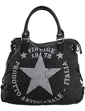 Damen Handtasche Canvas Tasche Stern Vinatge Druck Schultertasche Umhängetasche TUS03