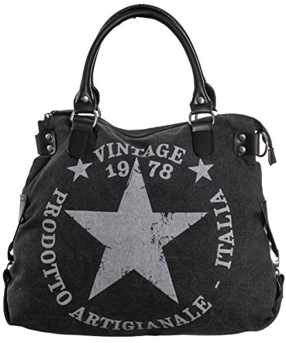 Damen Handtasche mit Stern aus Canvas mit Leder stern anthrazit