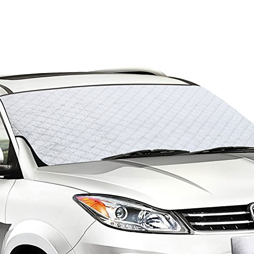 Car Windscreen Snow Cover, SNAN Windshield Frost Covers Anti Foil, Ice, Dust,Sun Aluminum Shield Screen Protector in all Weather