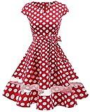 Gardenwed Damen 1950er Vintage Rockabilly V-Ausschnitt Retro Hepburn Stil Cocktailkleid Weihnachten Kleid Red White Dot XS