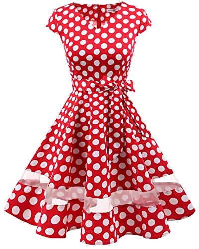 Gardenwed annata 1950 retrò rockabilly polka vestito da audery swing abito da cocktail partito con maniche corte red white dot s