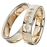 CORE by Schumann Design Trauringe Eheringe aus 585 Gold Rotgold/Palladium Bicolor mit echten Diamanten Gratis Testringservice & Gravur 19101115