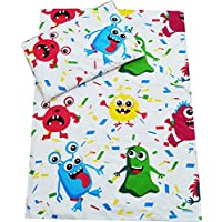 Cot Bed Duvet Cover + Pillowcase 2 Pieces Bedding Set 90 x 120 cm, Many Designs Available (Monsters)