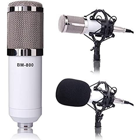 Bianco Professionale Microfono a condensatore/Microphone Mic Mike Sound Studio Recording + Stand/Holder/Support Per Laptop Notebook Skype TH040