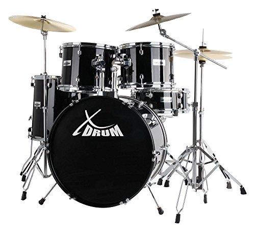 """XDrum Semi 22"""" Standard Schlagzeug Midnight Black Set (22"""" BD, 14"""" x 5"""" SD, 12"""" + 13"""" TT, 16"""" FT, inkl. 16"""" Crash Becken und Galgenbeckenständer) schwarz"""