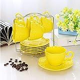 mytxfh Kaffeetassen Relief Porzellan Kaffeetasse Untertasse Löffel Set 200Ml Keramik Teetasse Europa Cafe Party Teatime Teetasse